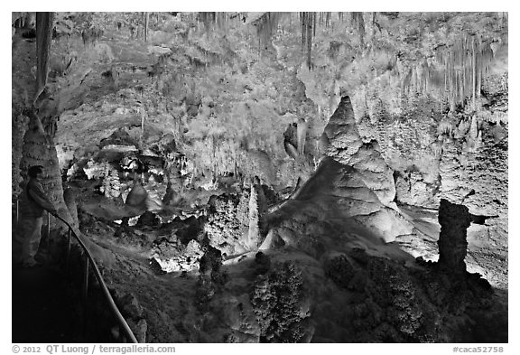 Park visitor looking, large illuminated room filled with speleotherms. Carlsbad Caverns National Park (black and white)