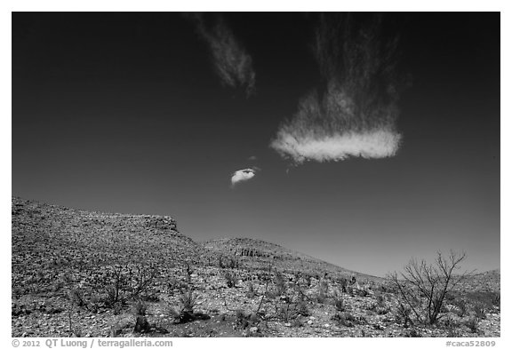 Cloud and blue skies above burned desert. Carlsbad Caverns National Park (black and white)