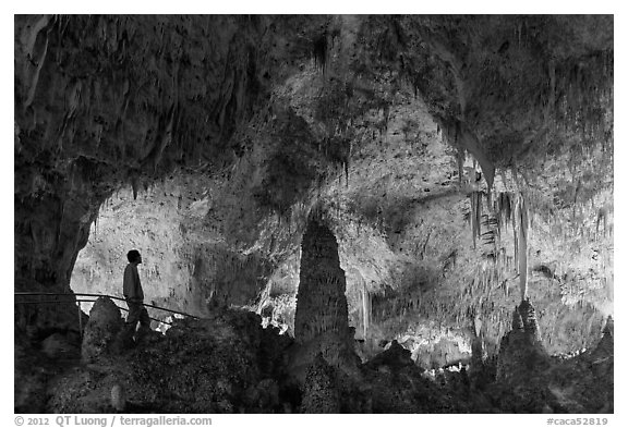 Park visitor looking, cave room. Carlsbad Caverns National Park (black and white)