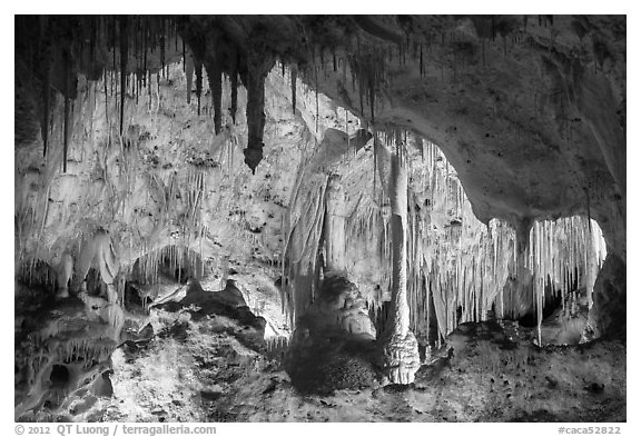 Painted Grotto. Carlsbad Caverns National Park (black and white)