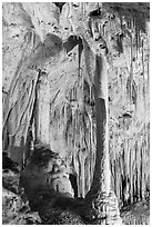Delicate stalagtites with iron oxide staining in Painted Grotto. Carlsbad Caverns National Park ( black and white)