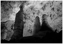 Tall columns in Hall of Giants. Carlsbad Caverns National Park, New Mexico, USA. (black and white)