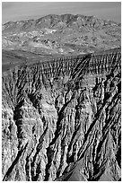Ubehebe Crater walls and mountains. Death Valley National Park, California, USA. (black and white)