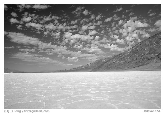 Salt flats at Badwater, mid-day. Death Valley National Park, California, USA.