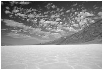 Salt flats at Badwater, mid-day. Death Valley National Park, California, USA. (black and white)
