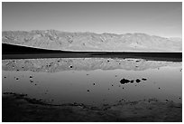 Panamint range reflection in Badwater pond, early morning. Death Valley National Park, California, USA. (black and white)
