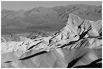 Manly beacon, Zabriskie point, sunrise. Death Valley National Park, California, USA. (black and white)