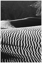 Ripples on Mesquite Sand Dunes, morning. Death Valley National Park ( black and white)