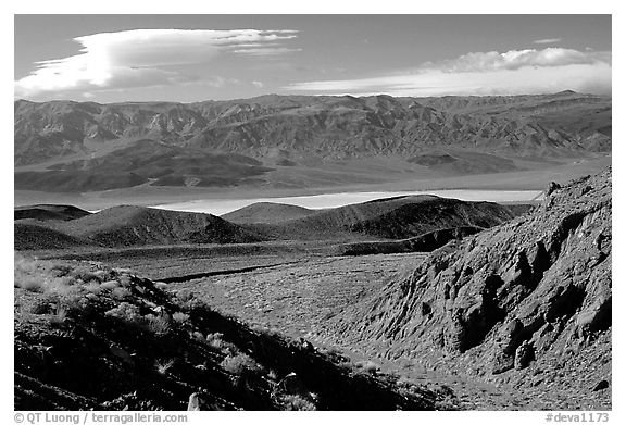 Valley viewed from foothills. Death Valley National Park (black and white)