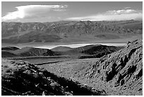 Valley viewed from foothills. Death Valley National Park, California, USA. (black and white)