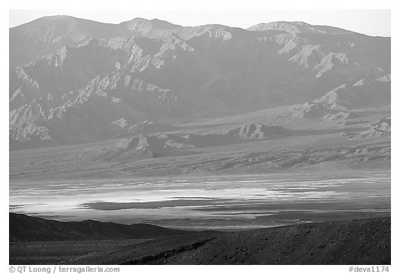 Valley and mountains. Death Valley National Park (black and white)