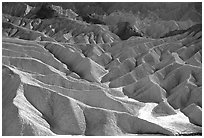 Eroded badlands near Zabriskie Point. Death Valley National Park, California, USA. (black and white)