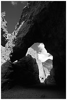 Natural bridge. Death Valley National Park, California, USA. (black and white)