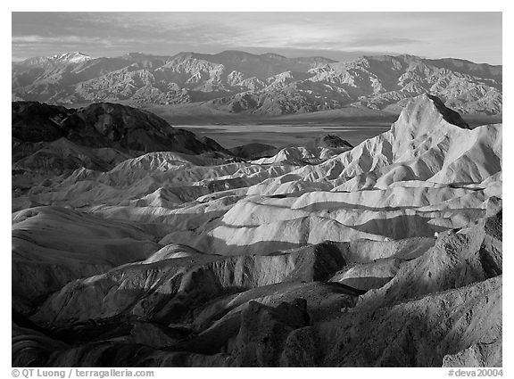 Badlands, Valley, and Telescope Peak from Zabriskie Point,  winter sunrise. Death Valley National Park (black and white)