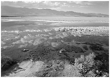 Shallow pond, reflections, and playa, Badwater. Death Valley National Park, California, USA. (black and white)