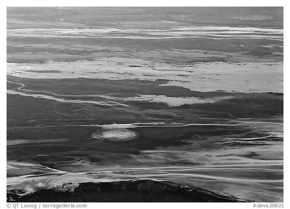 Badwater saltpan seen from above. Death Valley National Park (black and white)