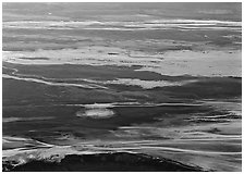 Badwater saltpan seen from above. Death Valley National Park, California, USA. (black and white)