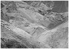 Colorful mineral deposits at Artist's Palette. Death Valley National Park ( black and white)