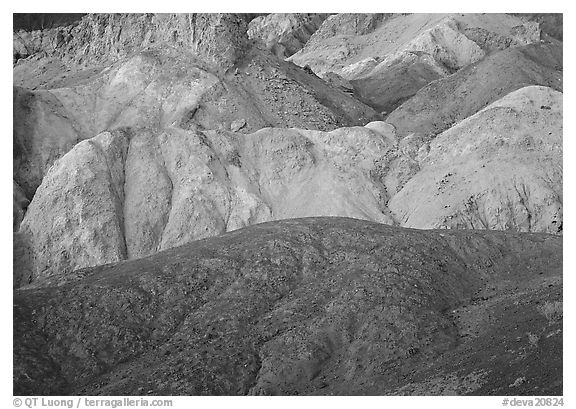 Multicolored mineral deposits, Artist Palette. Death Valley National Park (black and white)