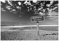 Badwater, lowest point in the US. Death Valley National Park, California, USA. (black and white)