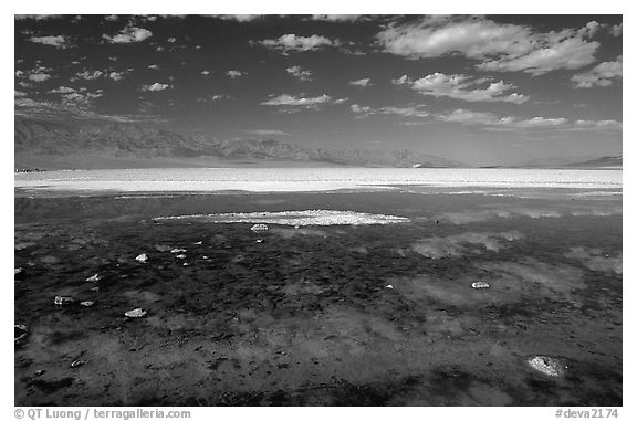Clouds and pond, Badwater. Death Valley National Park (black and white)