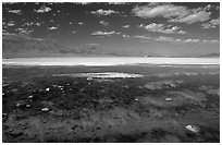 Clouds and pond, Badwater. Death Valley National Park, California, USA. (black and white)