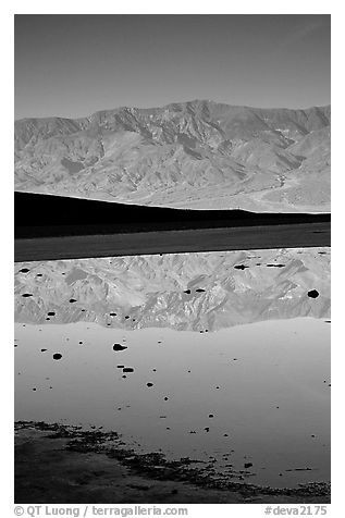 Panamint range reflected in pond at Badwater, early morning. Death Valley National Park (black and white)