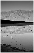 Panamint range reflected in pond at Badwater, early morning. Death Valley National Park, California, USA. (black and white)