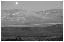 Moonrise over the Panamint range. Death Valley National Park, California, USA. (black and white)