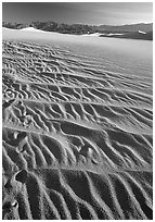Ripples on Mesquite Sand Dunes, early morning. Death Valley National Park, California, USA. (black and white)