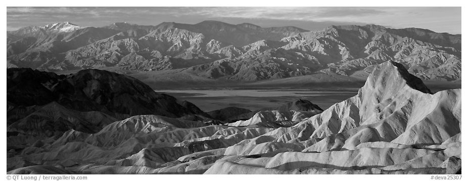 Zabriskie Point, Death Valley, and mountains in winter. Death Valley National Park (black and white)