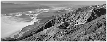 Saltpan and Death Valley from Dante's View. Death Valley National Park (Panoramic black and white)