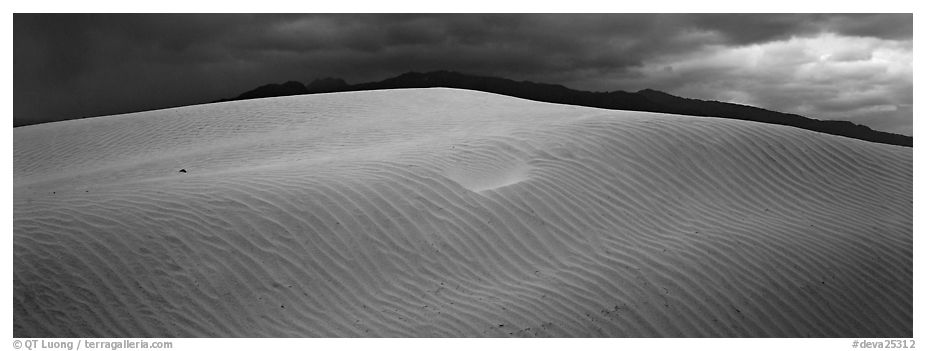 Dune and mountain in stormy weather. Death Valley National Park (black and white)