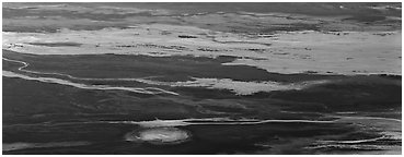 Salt flat seen from above. Death Valley National Park (Panoramic black and white)