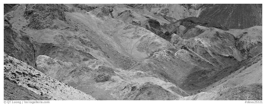 Multicolored rocks, artist's palette. Death Valley National Park (black and white)