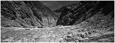 Dry desert wash, Mosaic Canyon. Death Valley National Park (Panoramic black and white)