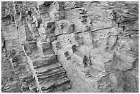 Polyedral rock patterns, Mosaic canyon. Death Valley National Park, California, USA. (black and white)