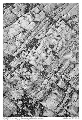 Rock patterns, Mosaic canyon. Death Valley National Park (black and white)