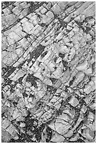 Rock patterns, Mosaic canyon. Death Valley National Park, California, USA. (black and white)