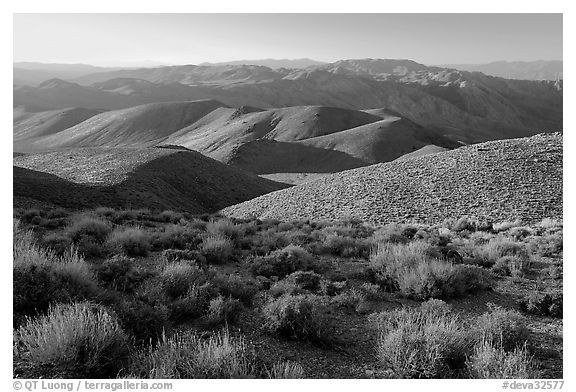 Tucki Mountains from Aguereberry point, late afternoon. Death Valley National Park (black and white)