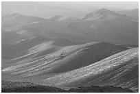 Tucki Mountains in haze of late afternoon. Death Valley National Park, California, USA. (black and white)