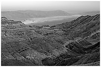 Canyon and Death Valley from Aguereberry point, sunset. Death Valley National Park, California, USA. (black and white)