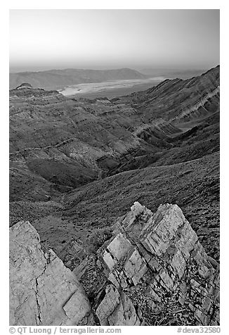 Rocks, canyon and Death Valley from Aguereberry point, sunset. Death Valley National Park (black and white)