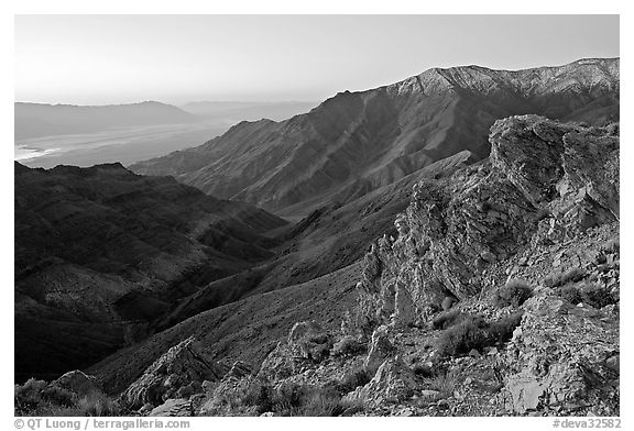 Canyon and Death Valley from Aguereberry point, sunrise. Death Valley National Park (black and white)