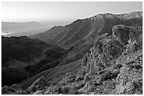 Canyon and Death Valley from Aguereberry point, sunrise. Death Valley National Park, California, USA. (black and white)