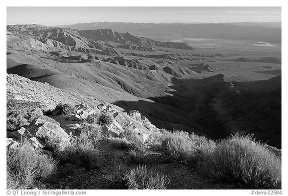 Looking towards the north from Aguereberry point, early morning. Death Valley National Park (black and white)
