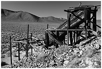 Cashier's mine in the Panamint Mountains, morning. Death Valley National Park, California, USA. (black and white)