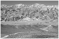 Mountains above Emigrant Pass. Death Valley National Park, California, USA. (black and white)