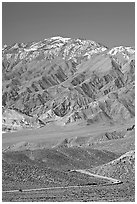 Road below Mountains above Emigrant Pass. Death Valley National Park, California, USA. (black and white)