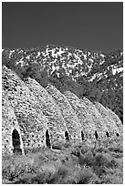 Wildrose charcoal kilns, in operation from 1877 to 1878. Death Valley National Park, California, USA. (black and white)